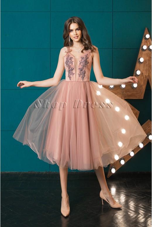 Вечернее платье-миди с пышной юбкой Kelli DM-1015