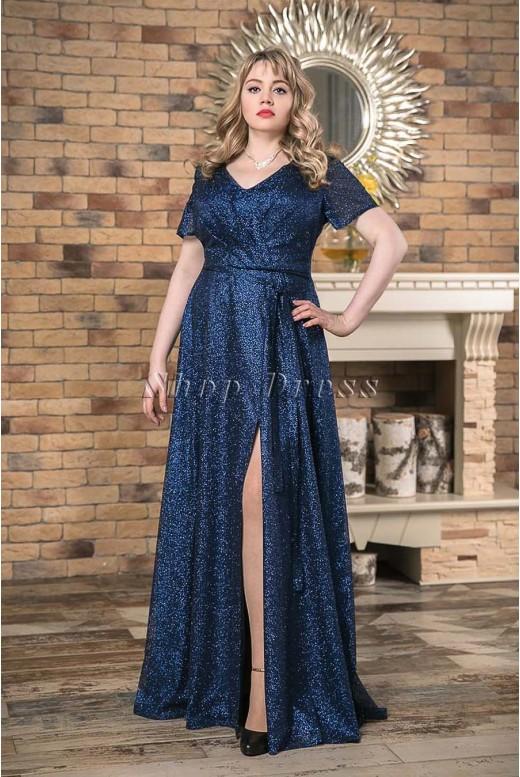 Вечернее длинное блестящее платье Victoria DM-1023