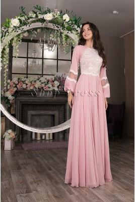 Шифоновое длинное платье с рукавами Miloslav DM-1034