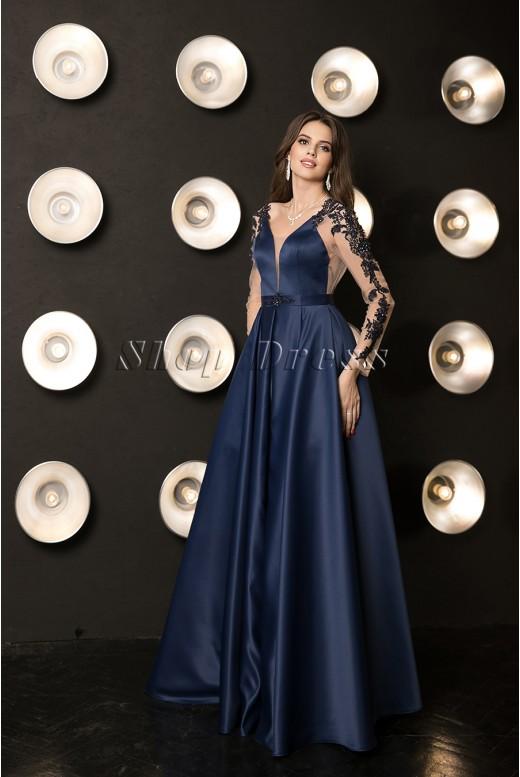 Вечернее пышное платье с кружевными рукавами Elegia DM-1043