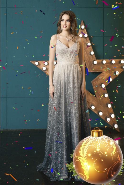 Вечернее длинное платье с эффектом  омбре Edita DM-1049