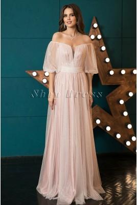 Свадебное блестящее платье с  рукавами Eugene MS-1040