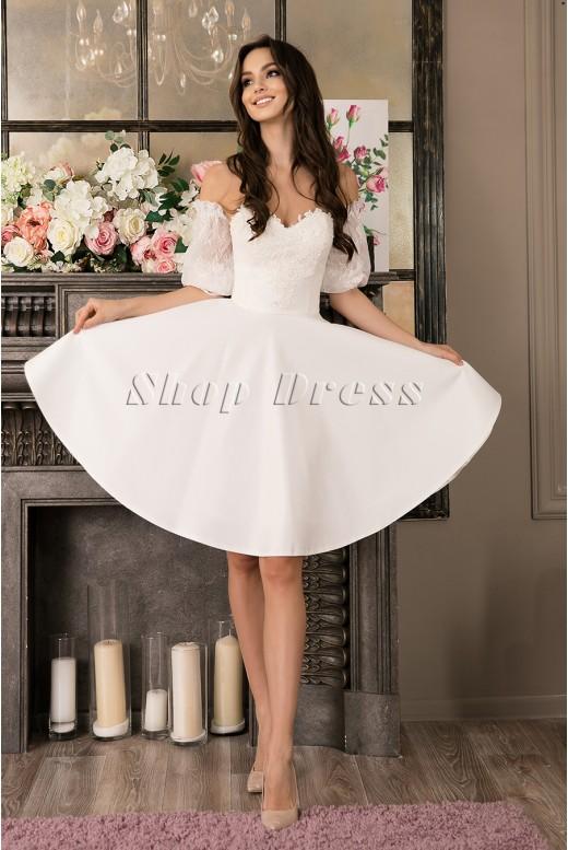 Короткое свадебное платье со съемными рукавами Maya MS-995