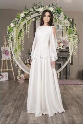 Свадебное платье с длинными шифоновыми рукавами Naomi MS-1036