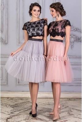 Коктейльное платье кроп топ DM-859