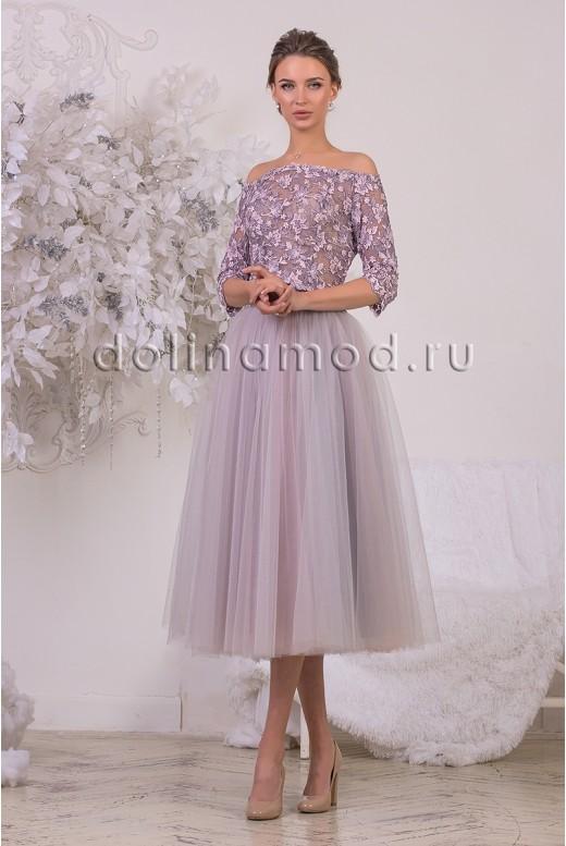 Evening dress crop top with sleeves Bridget DM-928