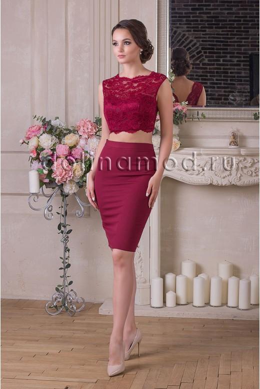 Коктейльное платье кроп-топ Monica DM-929