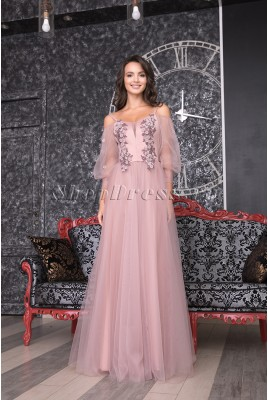 Prom dress with puffy transparent sleeves Diletta DM-983