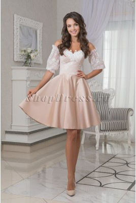 Short evening dress with removable sleeves Maya DM-995