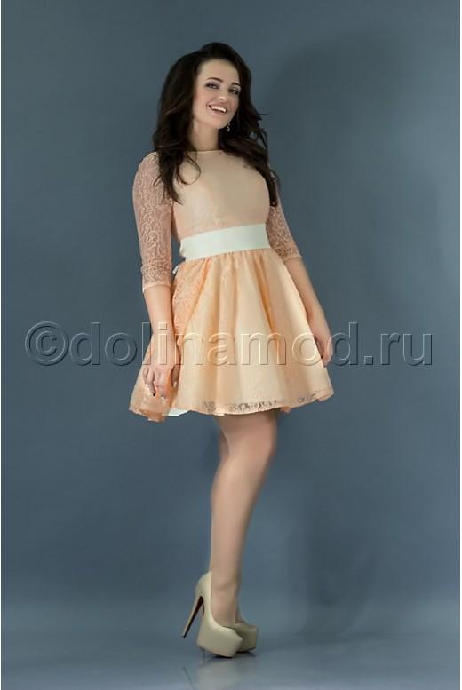 Короткое платье на выпускной с рукавами DM-767