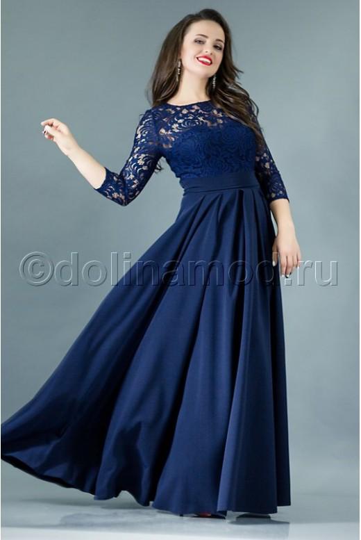 Вечернее платье в пол с рукавами DM-768