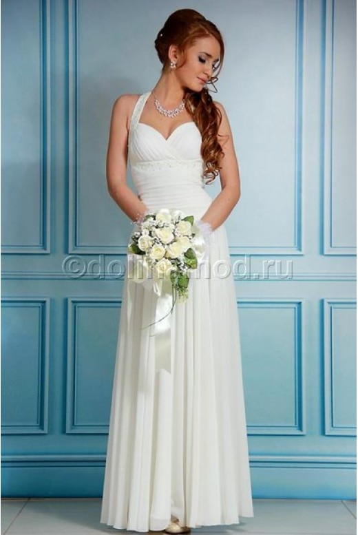 Длинное шифоновое платье с драпировкой на лифе