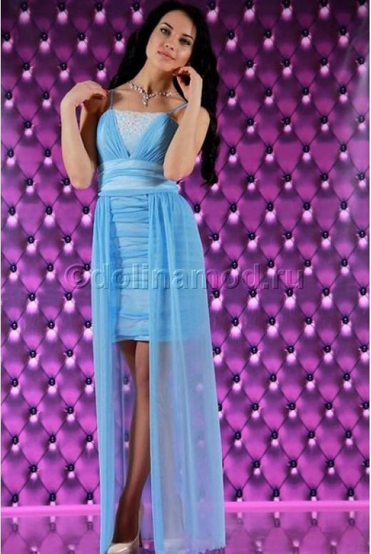 Короткое платье с длинной юбкой сзади