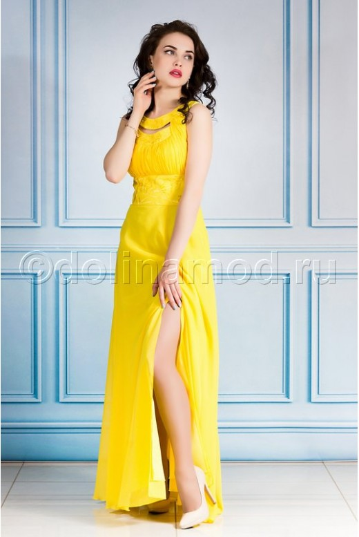 Длинное шифоновое выпускное платье DM-744