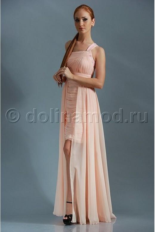Драпированное шифоновое платье на одно плечо с длинной юбкой сзади