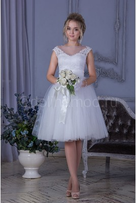 Короткое пышное свадебное платье DM-808