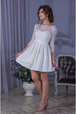Короткое свадебное платье с рукавами DM-796