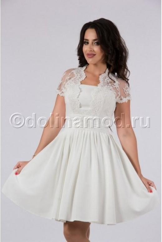 Короткое свадебное платье с рукавами DM-797