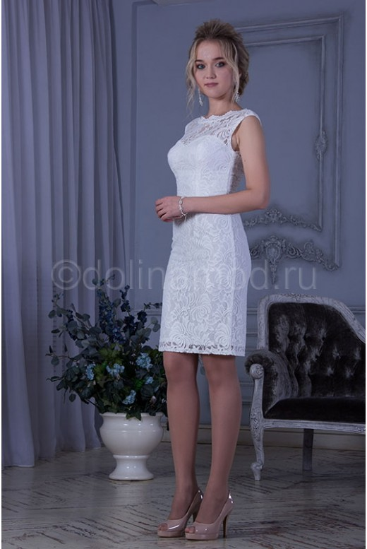 Короткое свадебное платье футляр DM-819