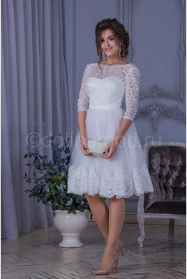 Короткое свадебное платье с рукавами DM-823