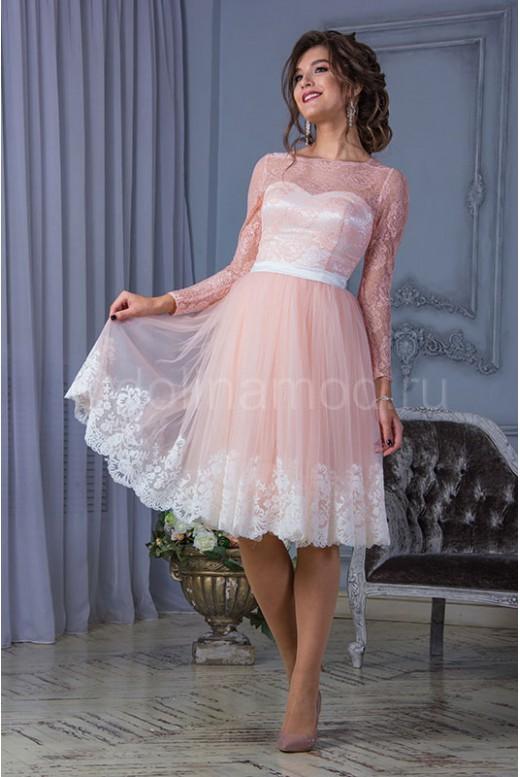 Короткое выпускное платье с рукавами DM-823