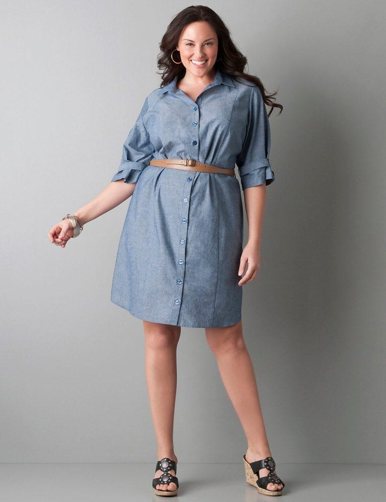 Платье-рубашка для полных