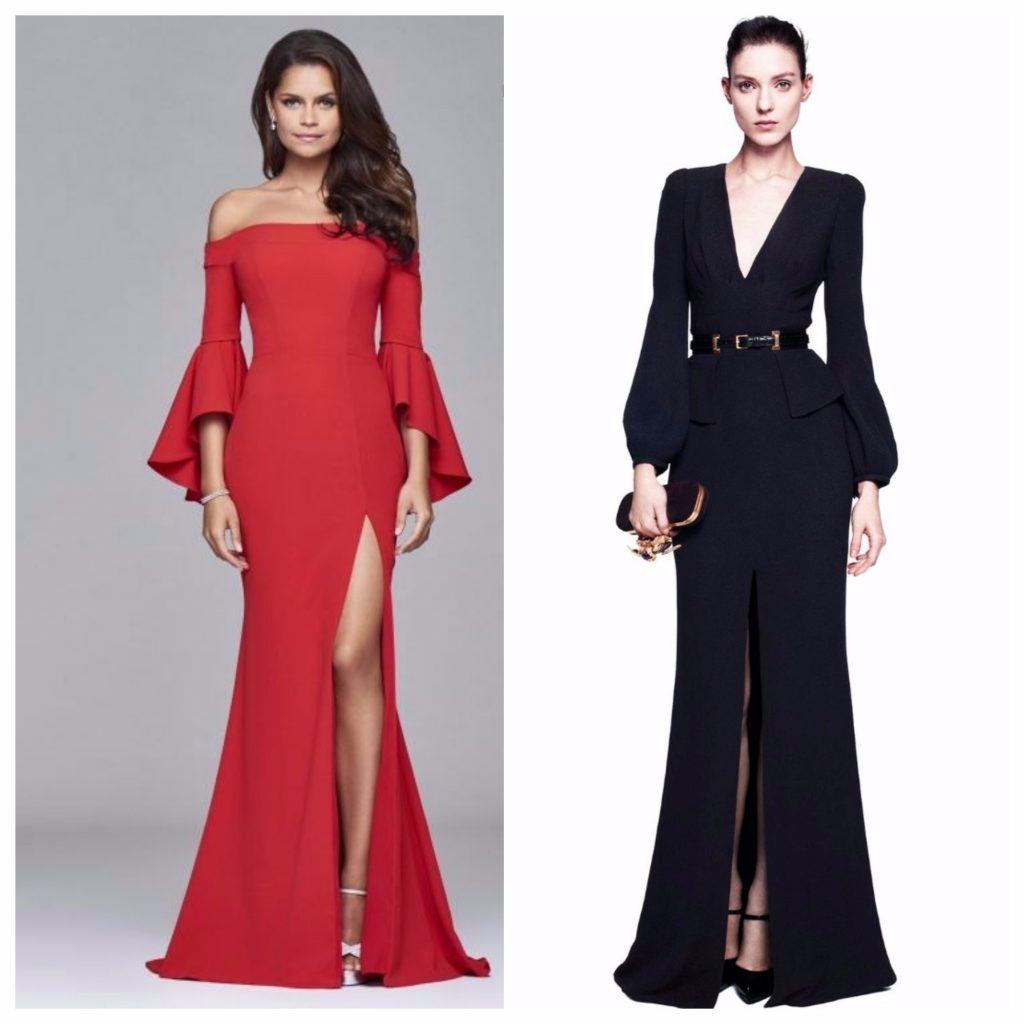 Клешеные рукава наиболее интересно смотрятся на вечерних платьях