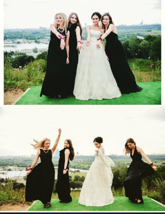 Как бы это не считалось странным, но одним из самых модных цветов наряда подружки невесты считается черный