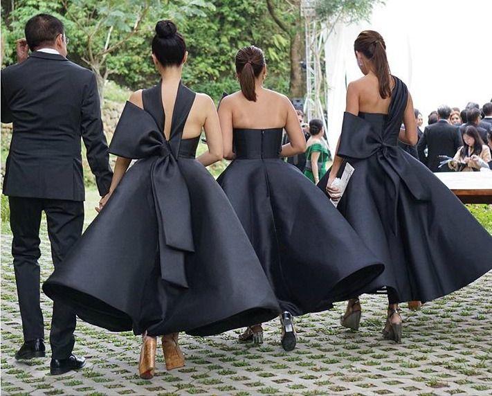 Черные платья для подружек невесты