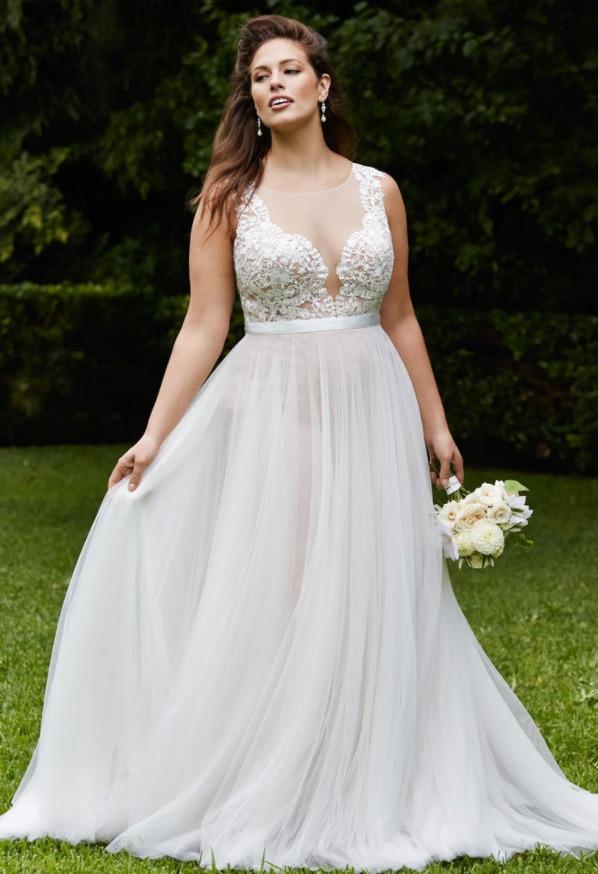 Свадебные платья А-силуэта для полных