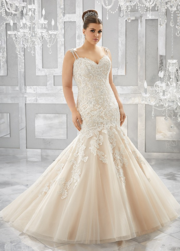 Свадебные платья Русалка для полных